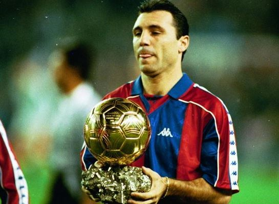Hristo Stoichkov with his Ballon d'Or award