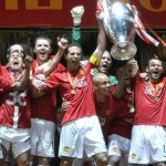Manchester United celebrating their UEFA Champions League win
