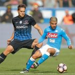 Napoli forward Lorenzo Insigne tries dribbling past Atalanta defender Rafael Toloi. (Getty Images)