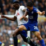 Tottenham's Victor Wanyama battles with Leicester City's Shinji Okazaki for the ball. (Getty Images)