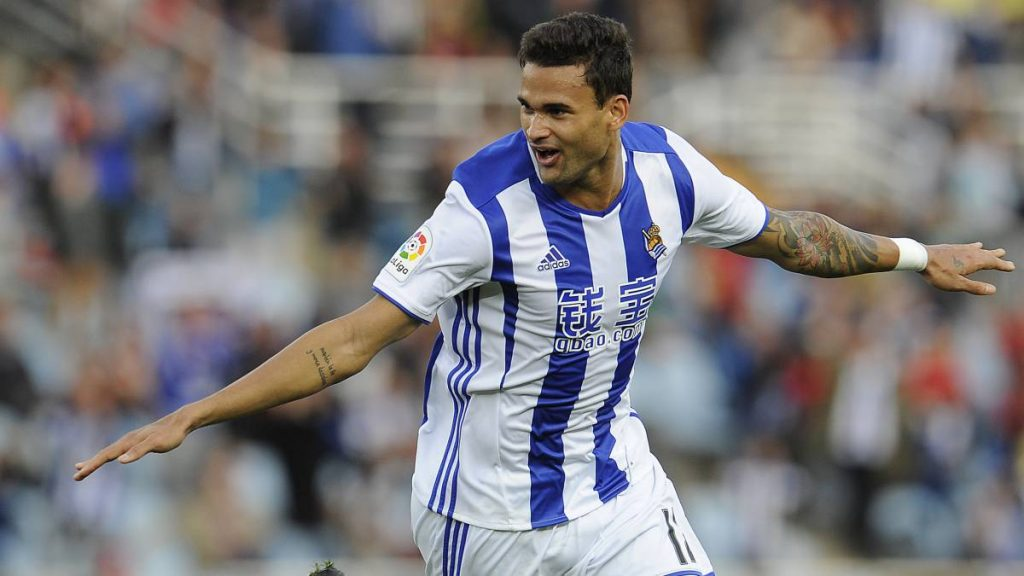 Willian Jose celebrates after scoring for Real Sociedad. (Getty Images)