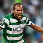 Sporting Lisbon striker Bas Dost celebrates after scoring. (Getty Images)