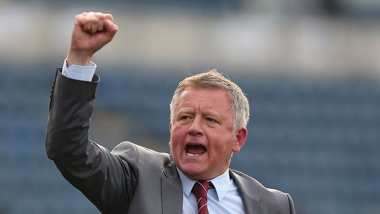 Sheffield United Chris Wilder celebrates a win. (Getty Images)