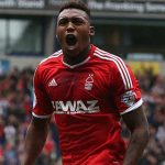 Britt Assombalonga celebrates after scoring for Nottingham Forest. (Getty Images)
