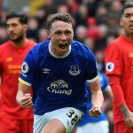 Everton defender Matthew Pennington celebrates after scoring against Liverpool. (Getty Images)