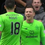 Celtic's Callum McGregor celebrates a goal with Tom Rogic. (Getty Images)