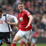 Nottingham Forest defender Joe Worrall vying for the ball. (Getty Images)