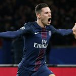 PSG midfielder Julian Draxler celebrates after scoring. (Getty Images)
