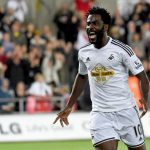 Swansea City striker Wilfried Bony celebrates after scoring. (Getty Images)