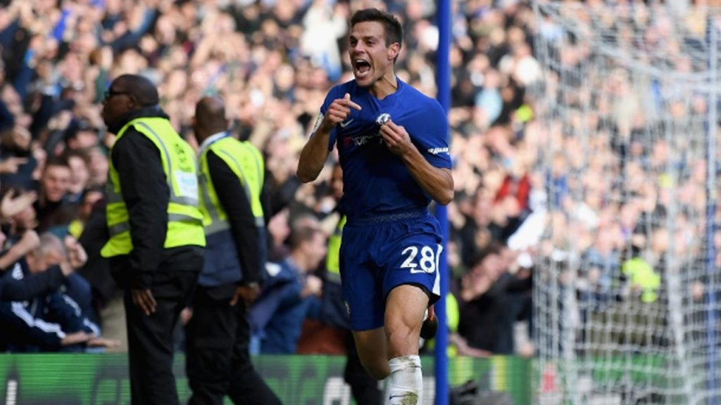 Chelsea skipper Cesar Azpilicueta celebrates after scoring. (Getty Images)