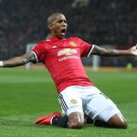 Ashley Young celebrates after scoring against Watford. (Getty Images)