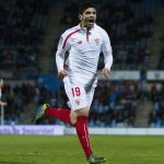 Sevilla midfielder Ever Banega celebrates after scoring. (Getty Images)