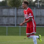 Middlesbrough winger Marcus Tavernier celebrates after scoring. (Getty Images)
