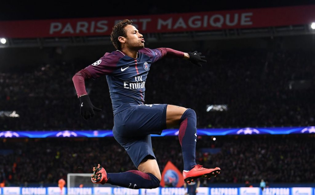 Neymar celebrates after scoring a goal for PSG. (Getty Images)