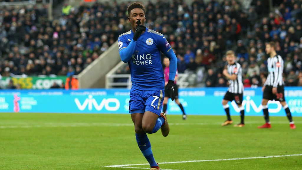 Leicester City winger Demarai Gray silences the crowd after scoring. (Getty Images)
