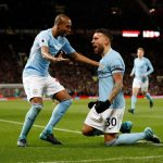 Manchester City players Fernandinho (left) and Otamendi (right) celebrate against Manchester United at Old Trafford. (Getty Images)