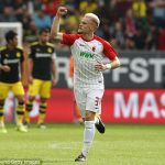 Augsburg left-back Philipp Max celebrates after scoring. (Getty Images)