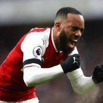 Arsenal striker Alexandre Lacazette celebrates after scoring. (Getty Images)