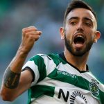 Sporting Lisbon midfielder Bruno Fernandes celebrates after scoring. (Getty Images)