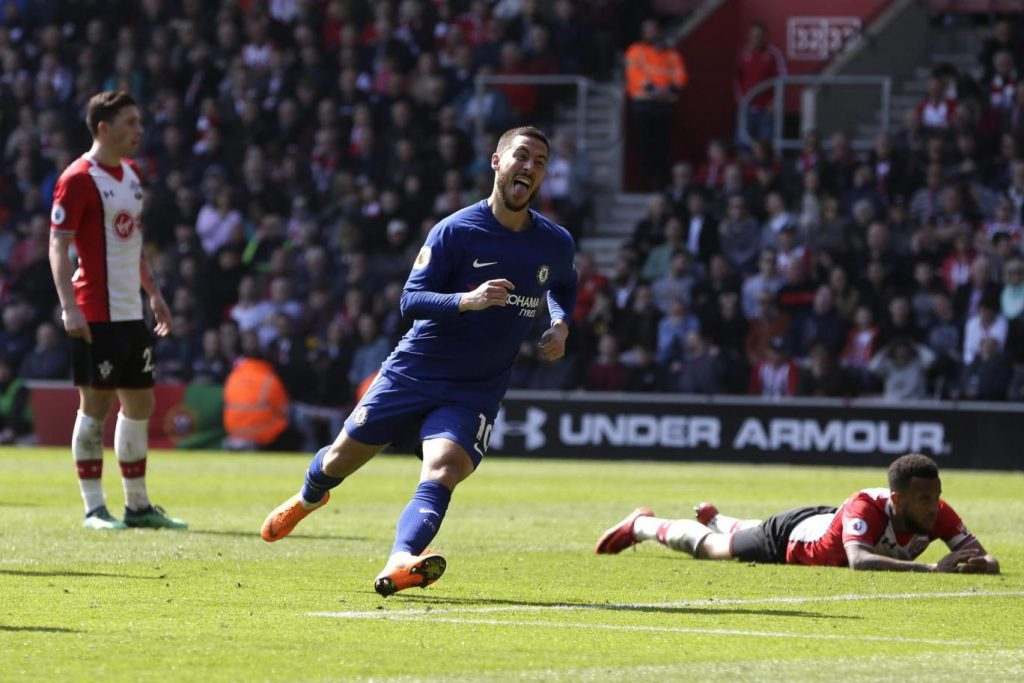 Eden Hazard celebrates after scoring for Chelsea