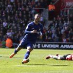 Eden Hazard celebrates after scoring for Chelsea