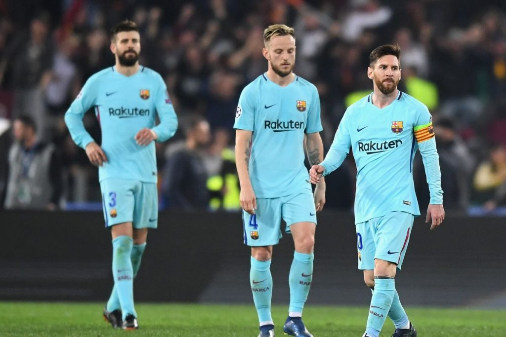 Rakitic with his Barcelona teammates. (Getty Images)