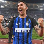 Inter Milan midfielder Matias Vecino celebrates. (Getty Images)