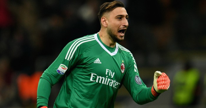 Gianluigi Donnarumma celebrates after his side's win in a Serie A match.