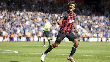 Bournemouth defender Nathan Ake celebrates after scoring. (Getty Images)