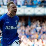 Rangers midfielder Scott Arfield celebrates after scoring. (Getty Images)