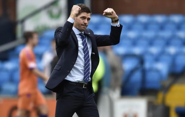 Rangers boss Steven Gerrard celebrates after the final whistle. (Getty Images)