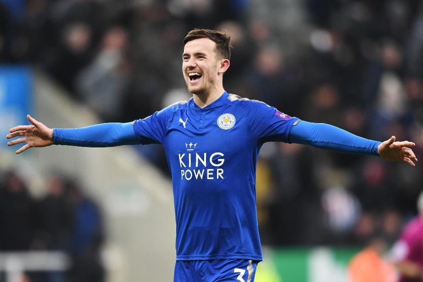 Leicester City left-back Ben Chilwell celebrates after scoring. (Getty Images)