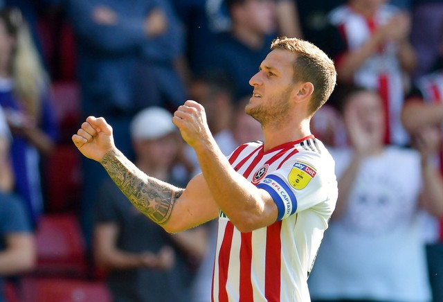 Sheffield United skipper Billy Sharp celebrates after scoring. (Getty Images)