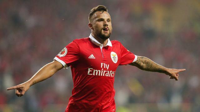 Benfica striker Haris Seferovic celebrates after scoring. (Getty Images)