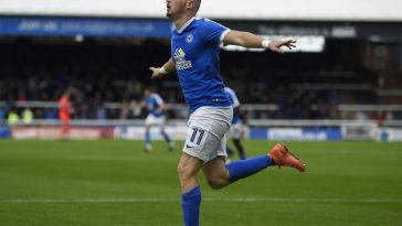 Marcus Maddison celebrates after scoring for Peterborough. (Getty Images)