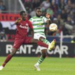 Celtic striker Odsonne Edouard battles for the ball against his opponent. (Getty Images)