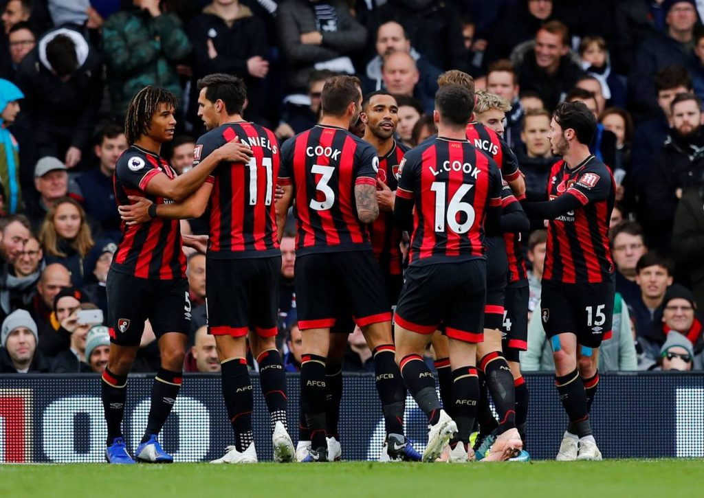 Bournemouth players celebrate after scoring. (Getty Images)