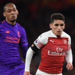 Arsenal's Lucas Torreira fights for the ball against Liverpool's Fabinho. (Getty Images)