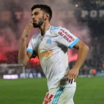 Marseille midfielder Morgan Sanson celebrates after scoring. (Getty Images)