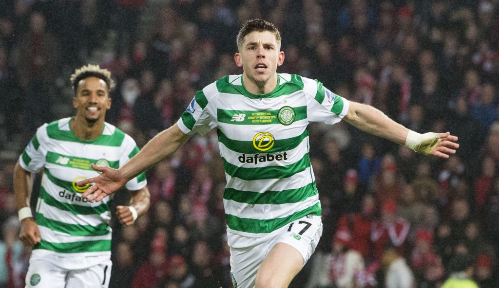 Celtic midfielder Ryan Christie celebrates after scoring a goal. (Getty Images)