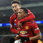 Manchester United's Anthony Martial celebrates a goal with Jesse Lingard. (Getty Images)