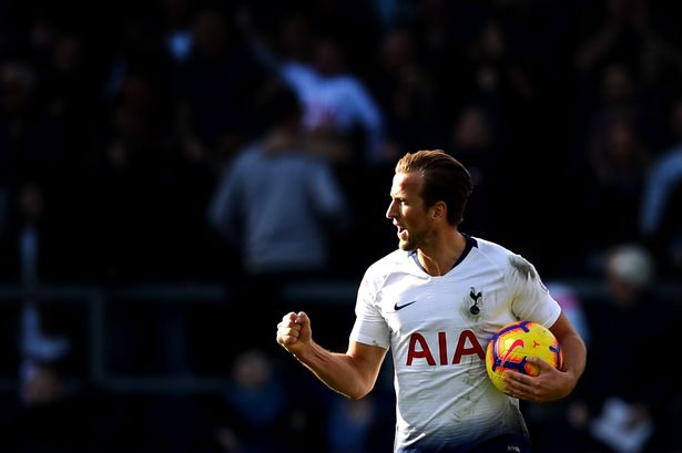 Tottenham's Harry Kane celebrates a goal. (Getty Images)