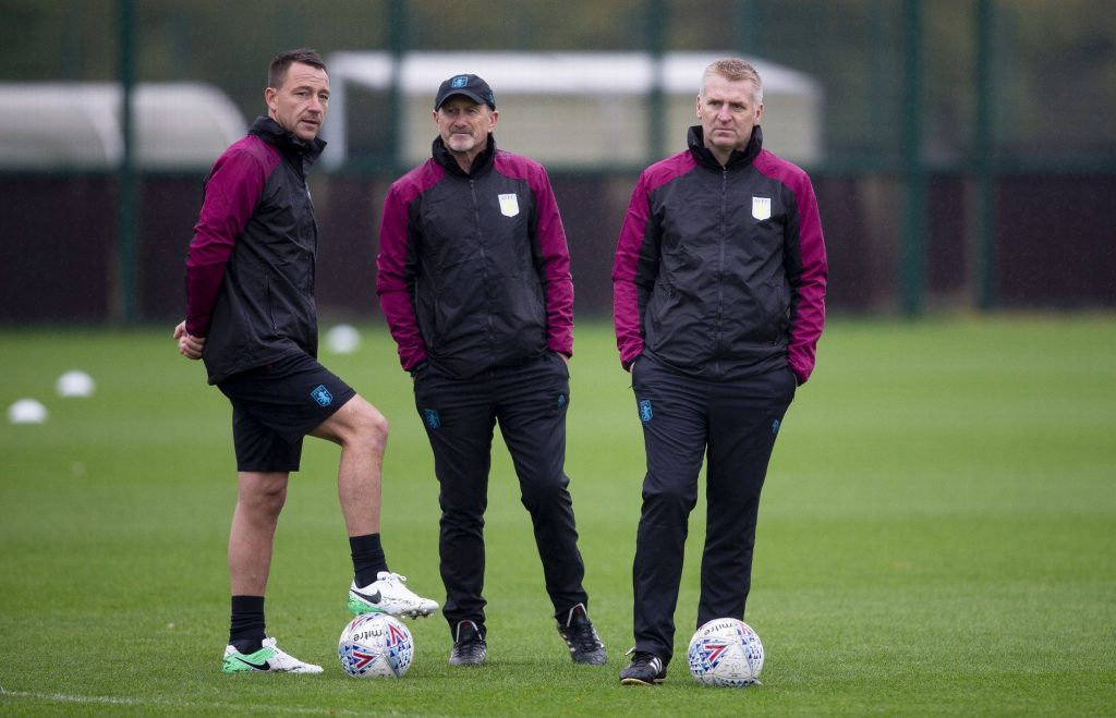 Aston Villa coach Dean Smith (right) needs to add some quality in his midfield to better their performances next season. (Getty Images)