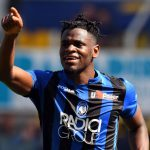 Duvan Zapata of Atalanta BC celebrates after scoring his team third goal during the Serie A match between Parma Calcio and Atalanta BC at Stadio Ennio Tardini. (Getty Images)