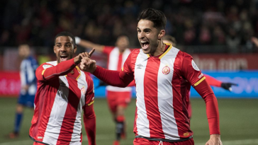 Juanpe Ramirez celebrates a goal with his Girona teammates. (Getty Images)