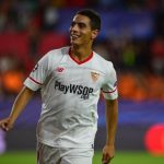 Wissam Ben Yedder celebrates after scoring for Sevilla. (Getty Images)