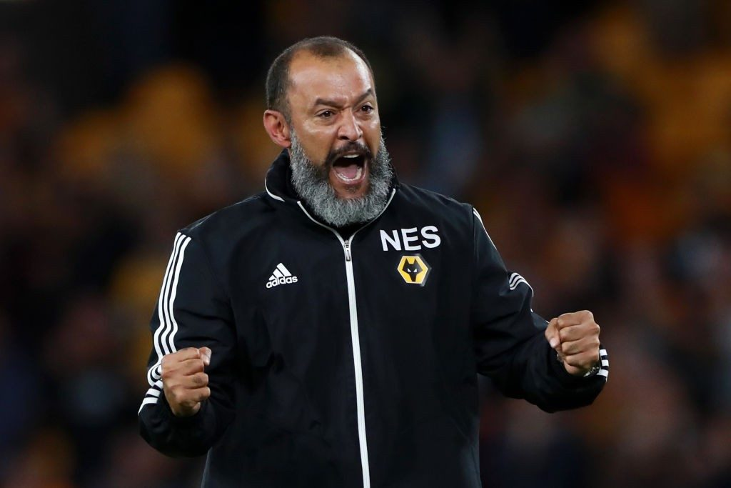 Wolves manager Nuno Espirito Santo celebrates after the full-time whistle. (Getty Images)
