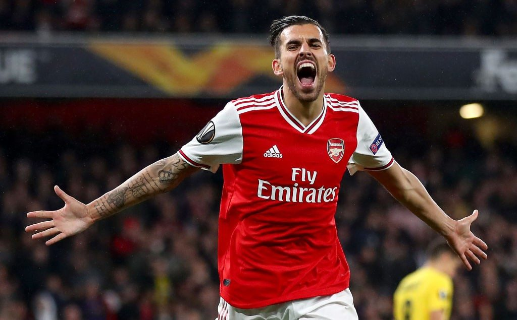 Dani Ceballos of Arsenal celebrates after scoring his team's fourth goal during the UEFA Europa League group F match between Arsenal FC and Standard Liege at Emirates Stadium on October 03, 2019 in London, United Kingdom. (Getty Images)