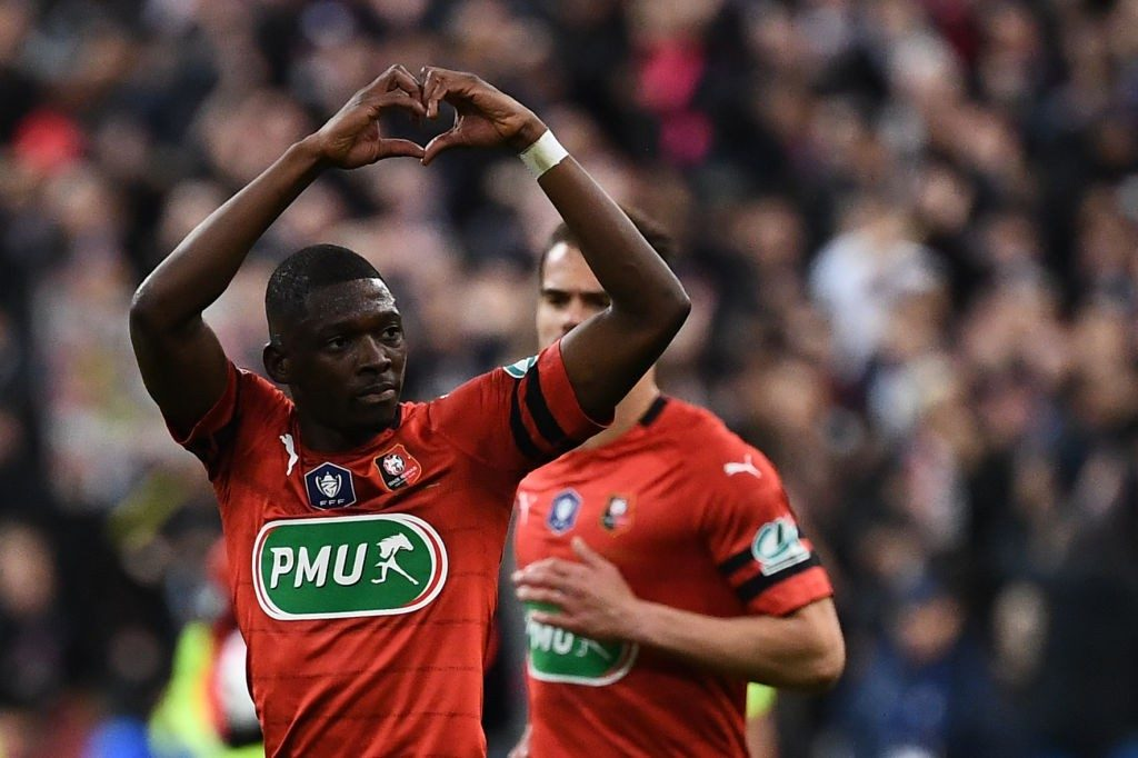 Rennes right-back Hamari Traore celebrates after scoring. (Getty Images)