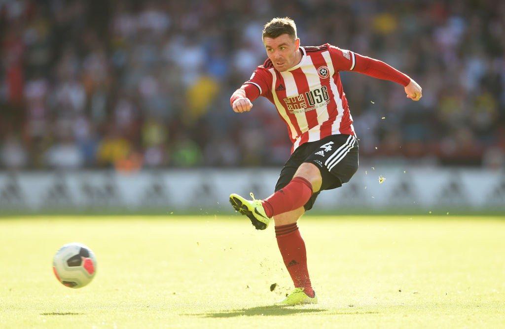 Sheffield United midfielder John Fleck shoots the ball. (Getty Images)